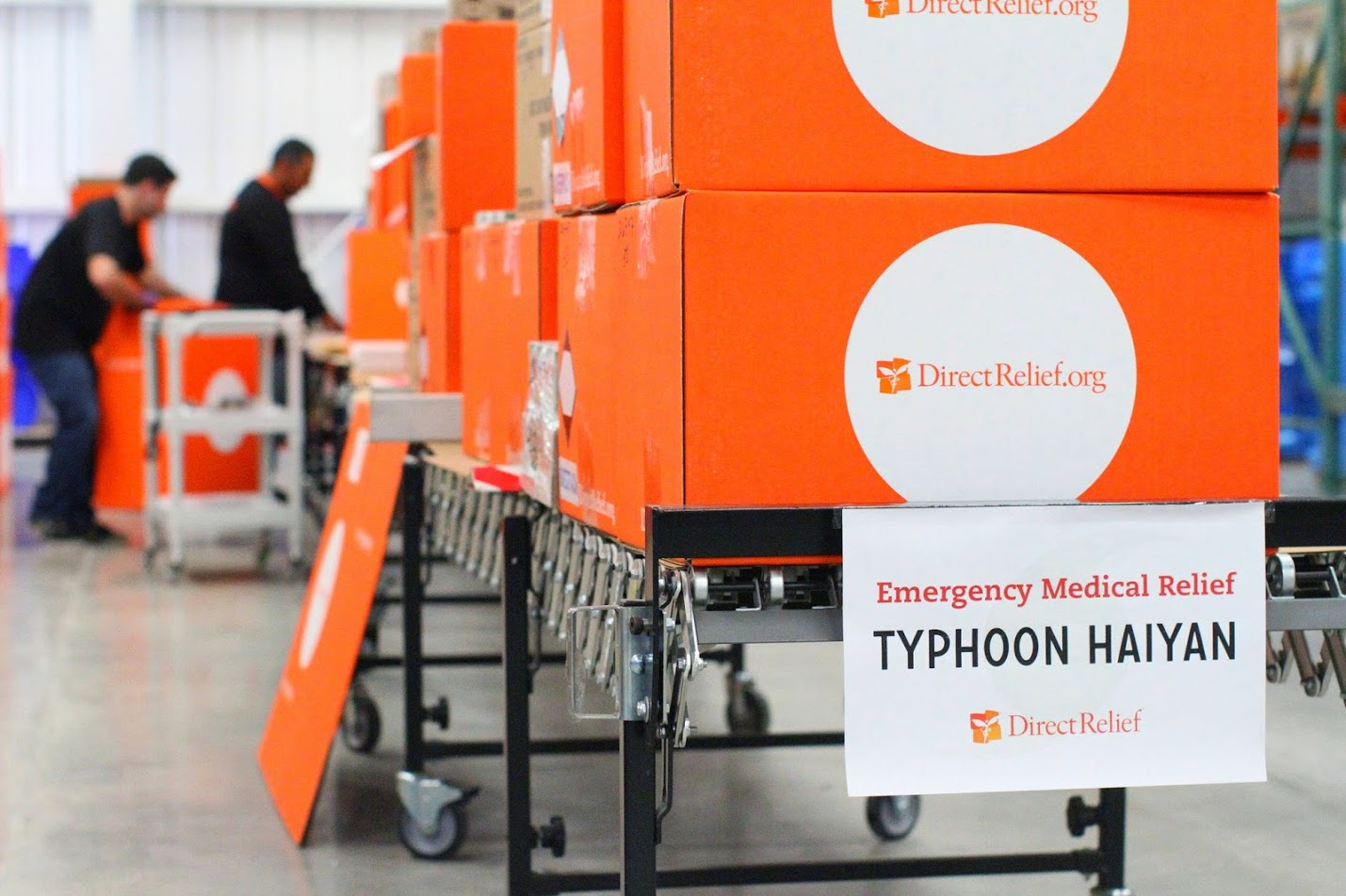 Shipments of medical aid are prepared in response to Typhoon Haiyan. (Direct Relief photo)