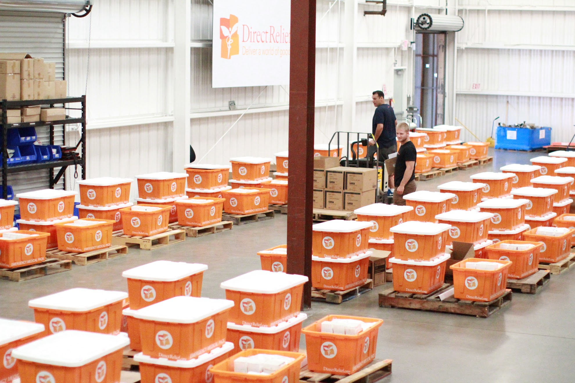 Hurricane Preparedness Packs are assembled in Direct Relief's warehouse each year in advance of hurricane season. Eleven of the prepositioned caches, which contain critical medicines and supplies, are currently with health clinics being impacted by Hurricane Harvey. (Direct Relief photo)