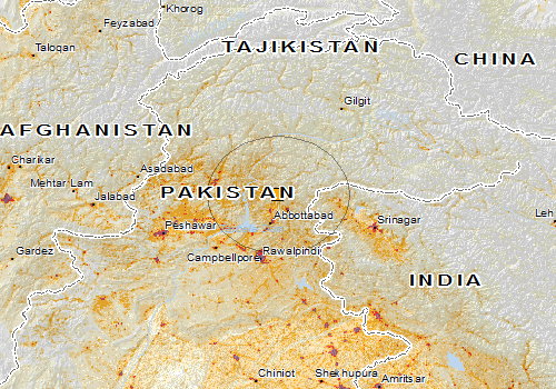 The circled area affected by the earthquake. Image by the Global Disaster Alert and Coordination System.