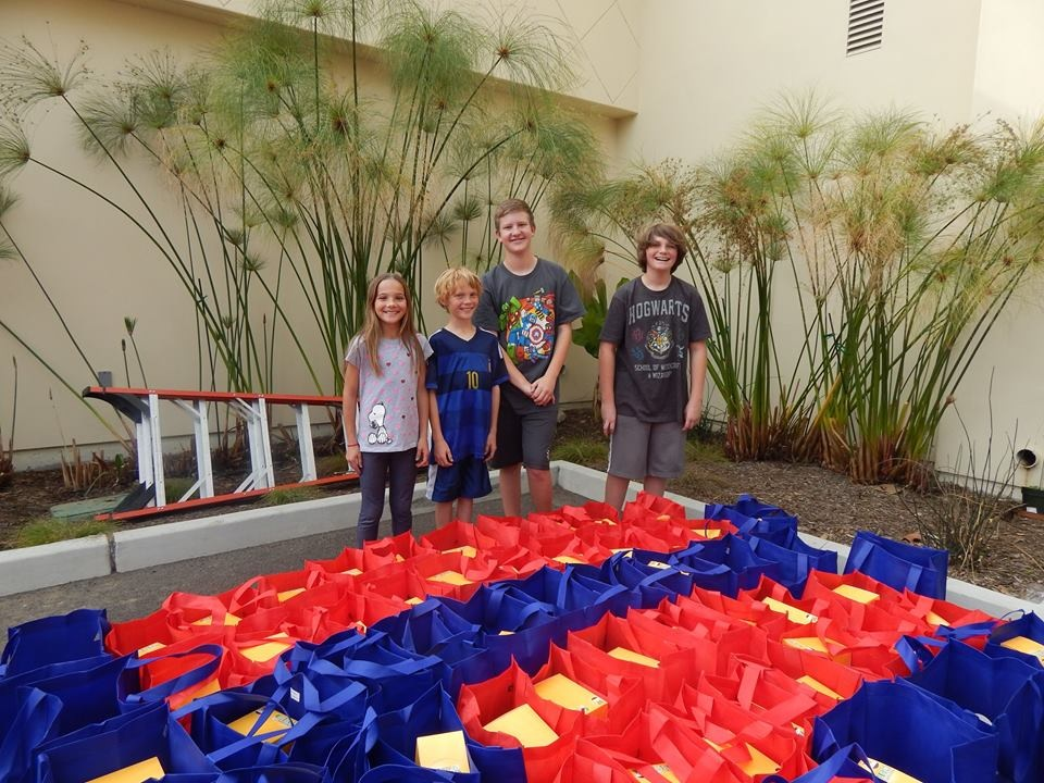 Young volunteers helped assemble the tools of engagement for the survey. From left to right: Kennah Shaffer, Kalum Shaffer, Cayden Tuttle, Kairos Shaffer