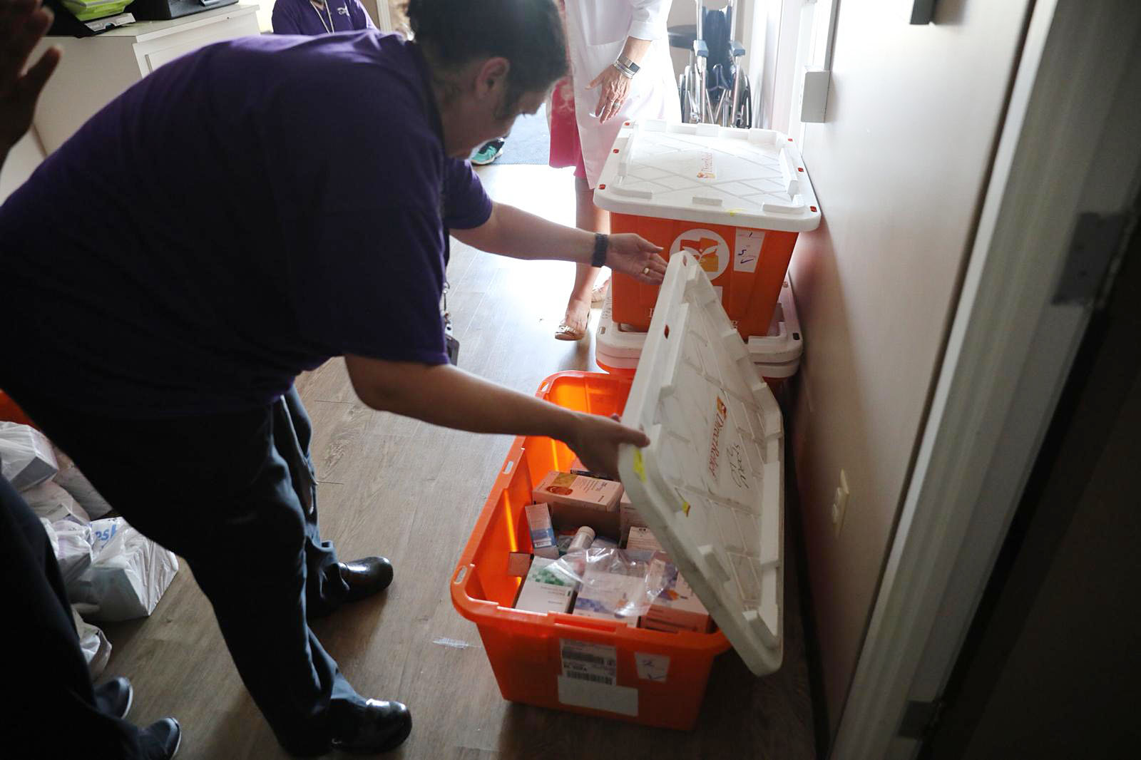 CommWell Health staff inventory medicines from Direct Relief as they work to treat patients in Harrells, North Carolina, on Sept. 19, 2018. (Photo by Mark Semegen for Direct Relief)