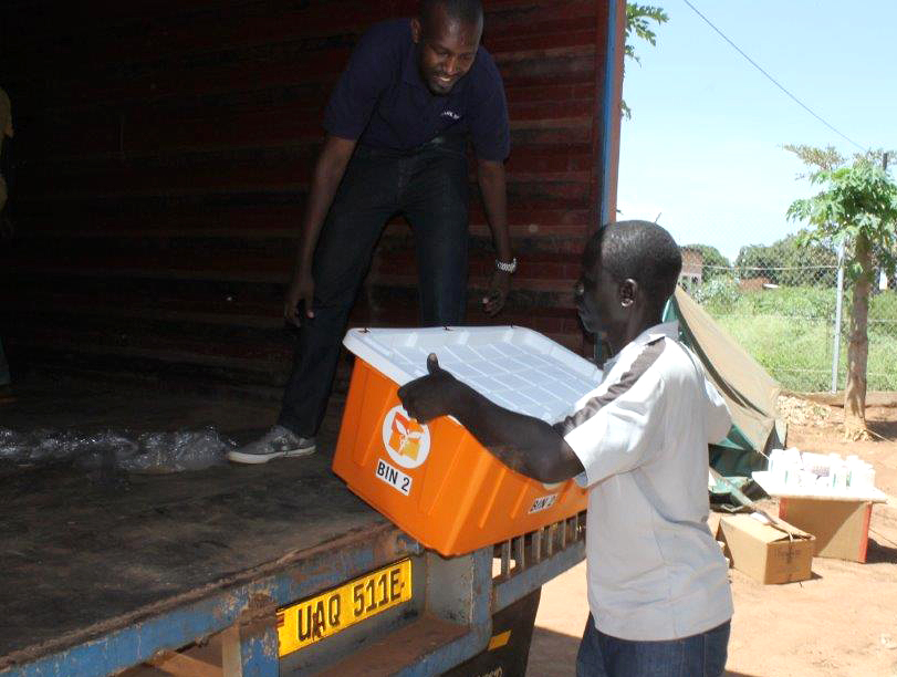 Direct Relief medicines and supplies arrive at Bidi Bidi Camp in Northern Uganda last week. The medicines are equipping doctors from the Real Medicine Foundation as they care for refugees living in the camp, many of whom have fled their homes in South Sudan. (Photo courtesy of Real Medicine Foundation)