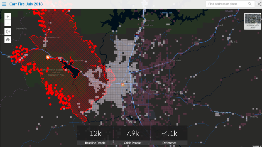 The map above details evacuation patterns as a result of the Carr Fire near Redding, California, on Monday, July 30, 2018. The lighter gray squares show areas of lower population, while the darker pink squares show areas of higher population, revealing where people have evacuated, away from the fire, which is outlined in red. The Shasta Community Health Center, a Direct Relief partner facility, is also shown here. This data was derived from Facebook's Disaster Maps tool, which shares aggregated insights from the Facebook platform with NGOs working in disaster response. (Map by Andrew Schroeder/Direct Relief)