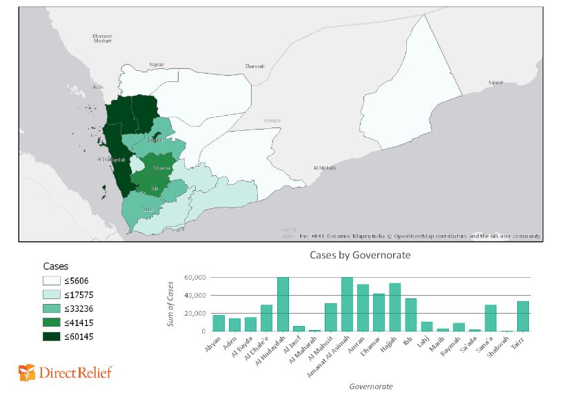 The map above reveals where cholera cases are most concentrated in Yemen, as of Aug. 13, 2017. (Andrew Schroeder/Direct Relief)