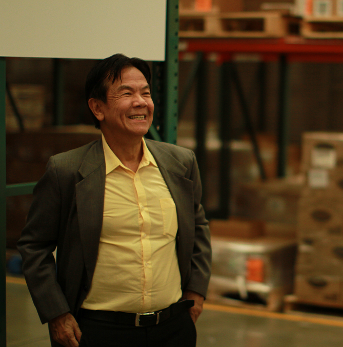 Dr. Tan visits Direct Relief's headquarters. Photo by Drew Fletcher.