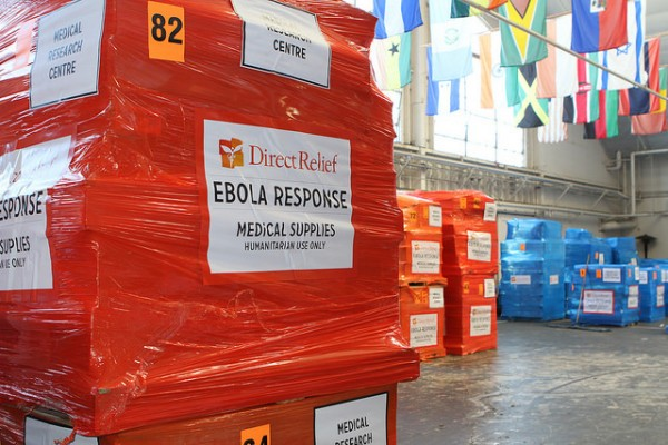 A shipment of Ebola relief supplies being prepped in the Direct Relief distribution center.
