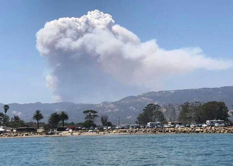 Wildfires burn into the night across Santa Barbara County as evacuation orders remain in place. The Whittier wildfire, reportedly sparked by a car fire, is burning in an easterly direction with flames moving closer to Santa Barbara and Goleta. (Photo by Vince)