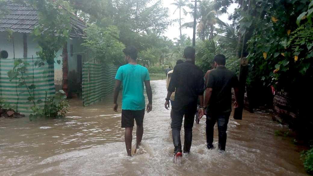 Flooding inundates Munroe Island, in Kerala, India. Direct Relief is working to support local health centers with medical supplies and financial assistance in the flood's wake. (Photo courtesy of Amrita University)