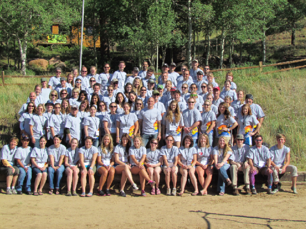 Campers smile for a group shot at Camp Colorado. Photo by Emily Fay.