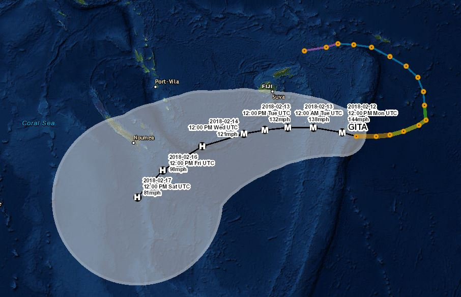 Click on the map above to track Cyclone Gita's path through the South Pacific. (Map by Andrew Schroeder/Direct Relief)