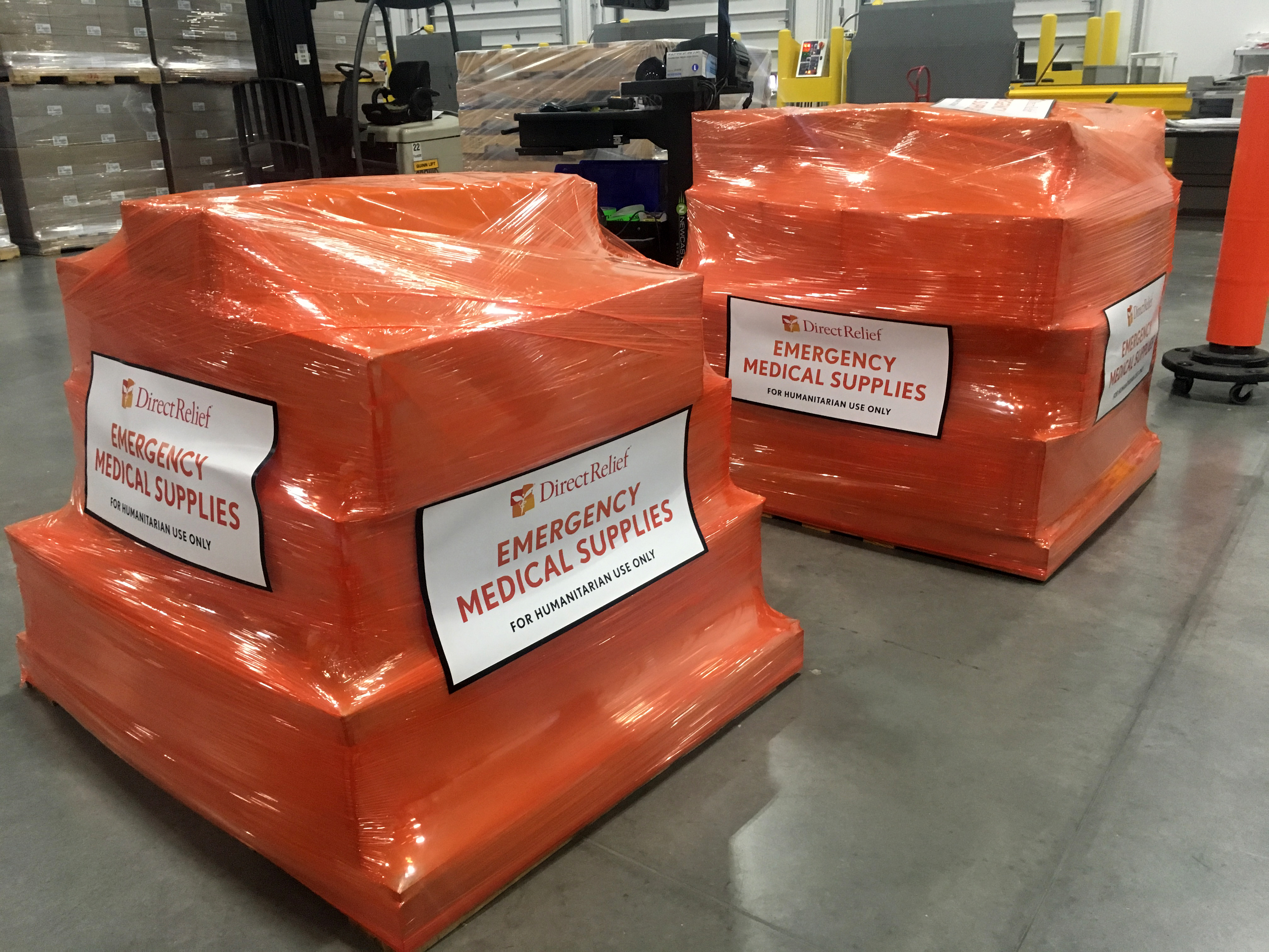 A Direct Relief shipment is staged on June 19 at the organization's California headquarters before being shipped to Guatemalan communities impacted by the Fuego Volcano. Many people are still displaced and require medical care. The shipment included Emergency Medical Backpacks as well as five rugged tents to be used as health stations for evacuees. (Cydney Justman/Direct Relief)