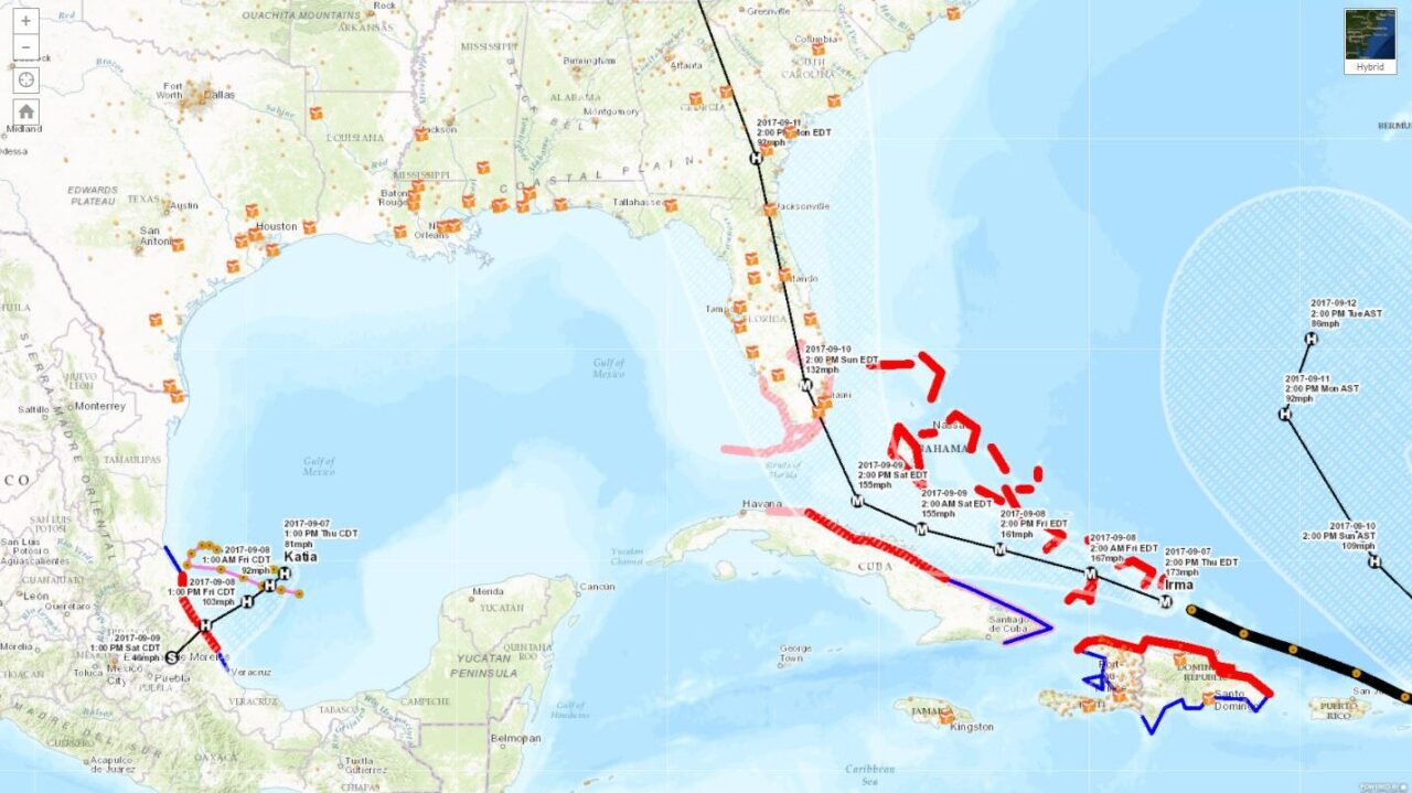 Click on the map above to see current locations and projected paths of Hurricanes Irma and Jose and the sites where Direct Relief has prepositioned emergency medical material in anticipation of health risks and disruption to healthcare supply lines in a hurricane emergency.  The map updates automatically with a live feed from NOAA.