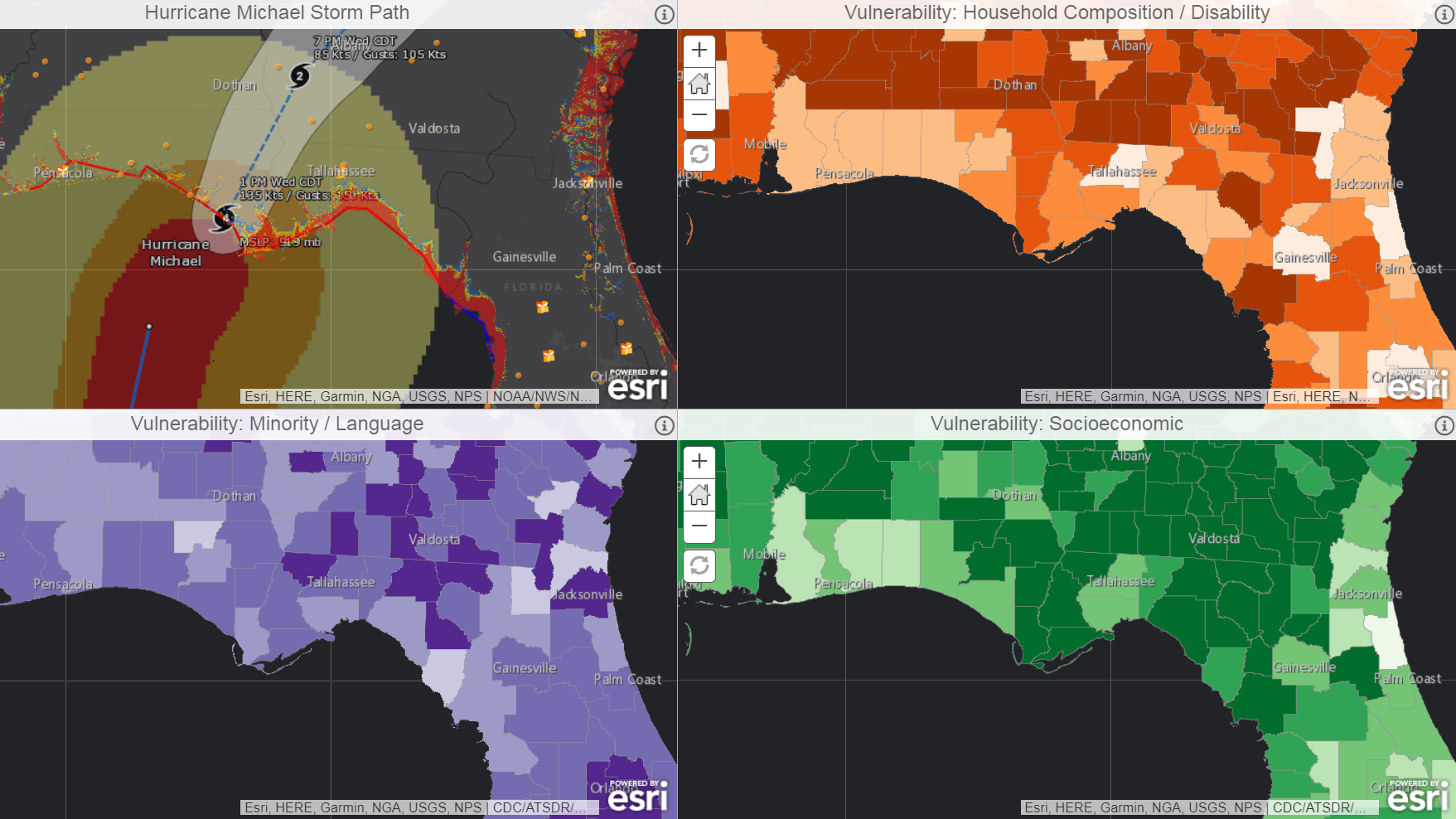 Map of social vulnerability and Hurricane Michael