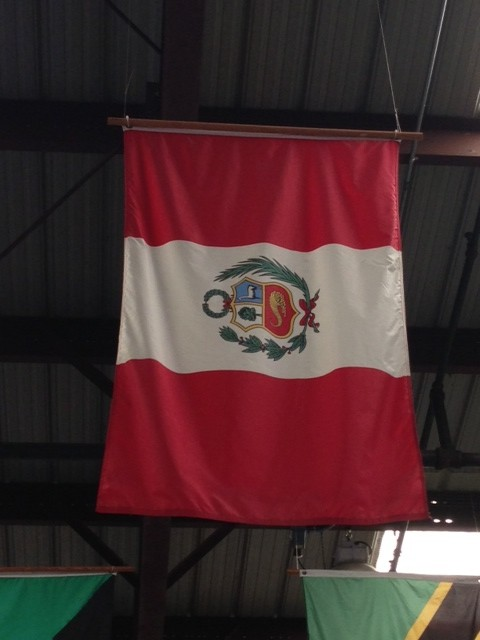 The Peruvian flag hangs in Direct Relief's warehouseies for people in Peru.