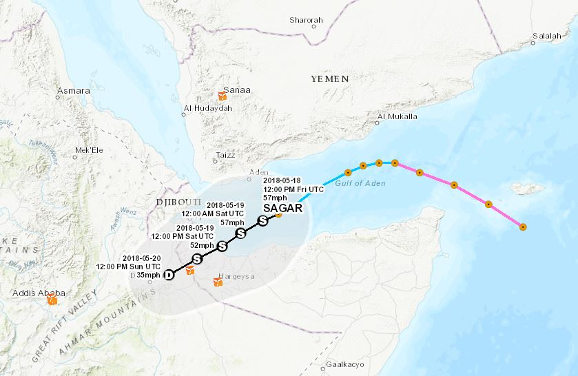 The map above outlines the projected path of Cyclone Sagar. Click to enlarge. (Map by Andrew Schroeder/Direct Relief)