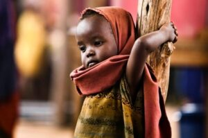 A Somali child at a refugee camp near the Kenyan border