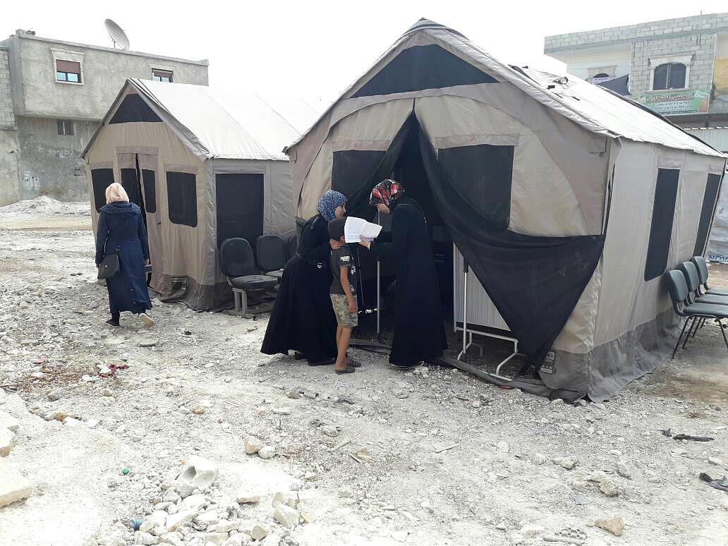 Tents, provided by Barebones, are being used as portable medical clinics in Aleppo, Syria. Many hospitals and health clinics have been destroyed, and Direct Relief sent tents, medicines and medical supplies in August 2017 to several organizations supporting Syrian refugees and people who have been displaced from their homes within Syria.(Photo courtesy of the Independent Doctors Association)