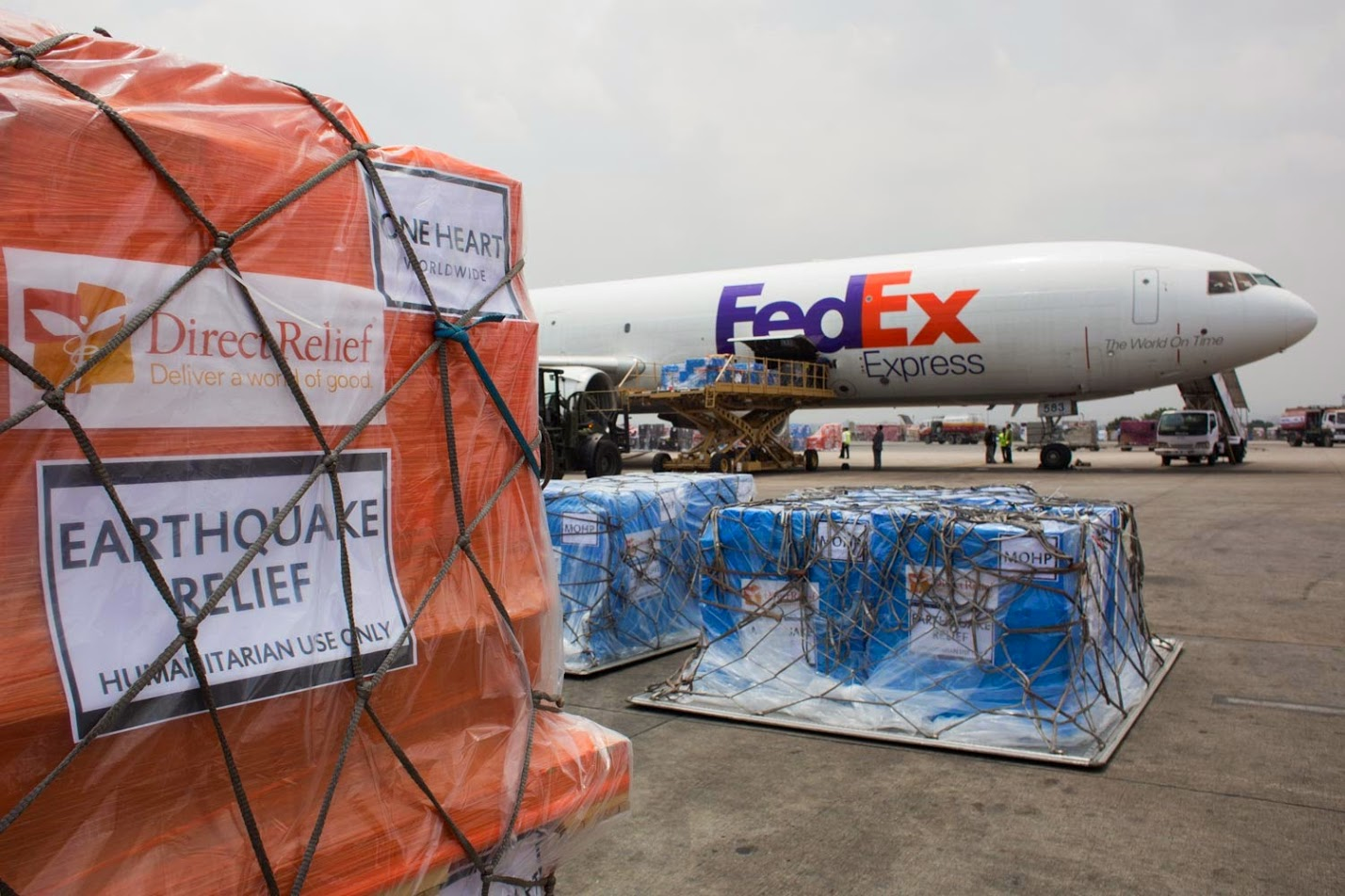 Medical aid bound for Nepal is staged before being loaded onto a FedEx plane in 2015. (Photo by Ivan Castaneira for Direct Relief)