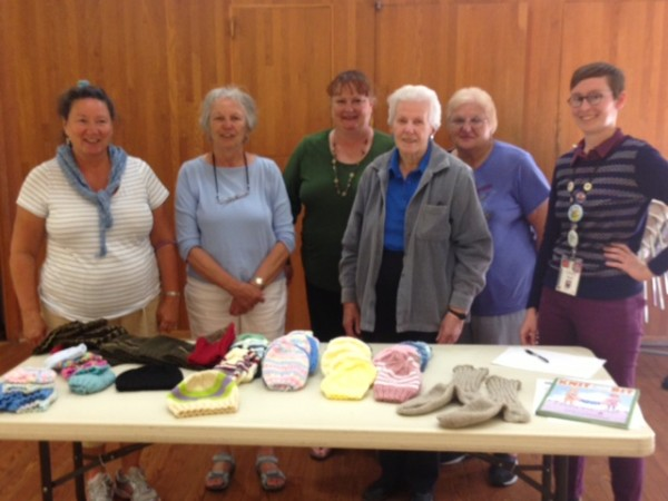 Women in th eGoleta Knitting and Crocheting Group meets weekly to knit items for people in need.