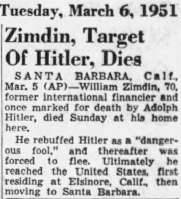 William Zimdin's obituary, Associated Press, March 6, 1951.