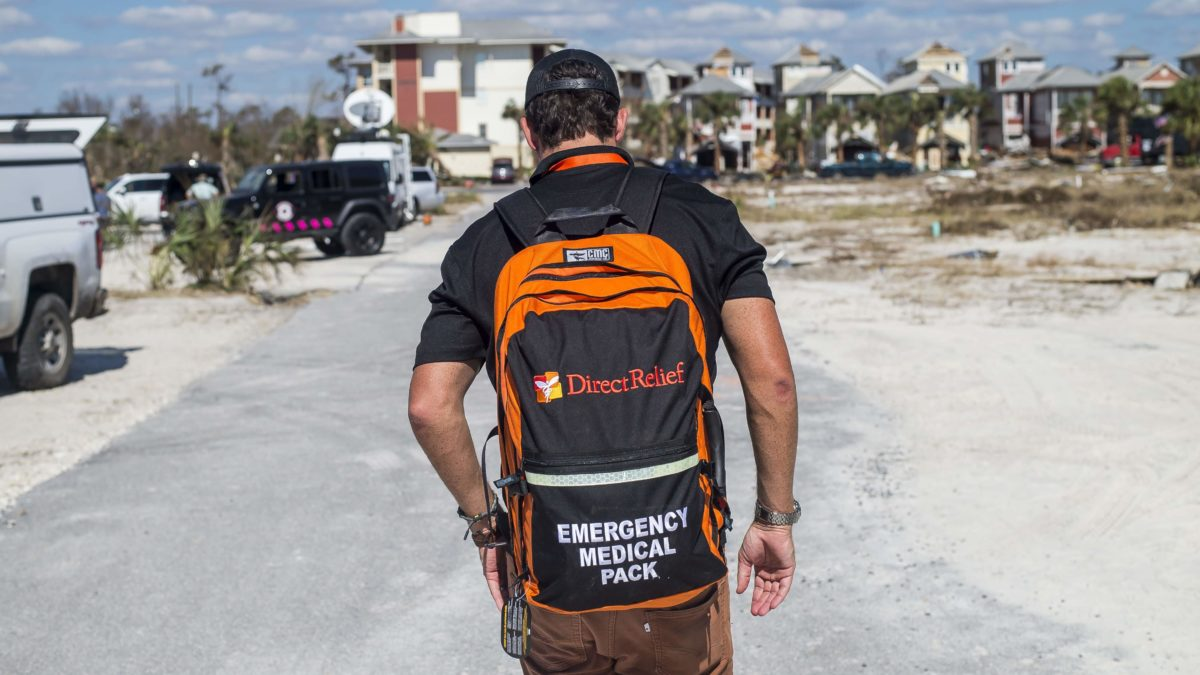 Relief worker in Florida in Hurricane Michael aftermath