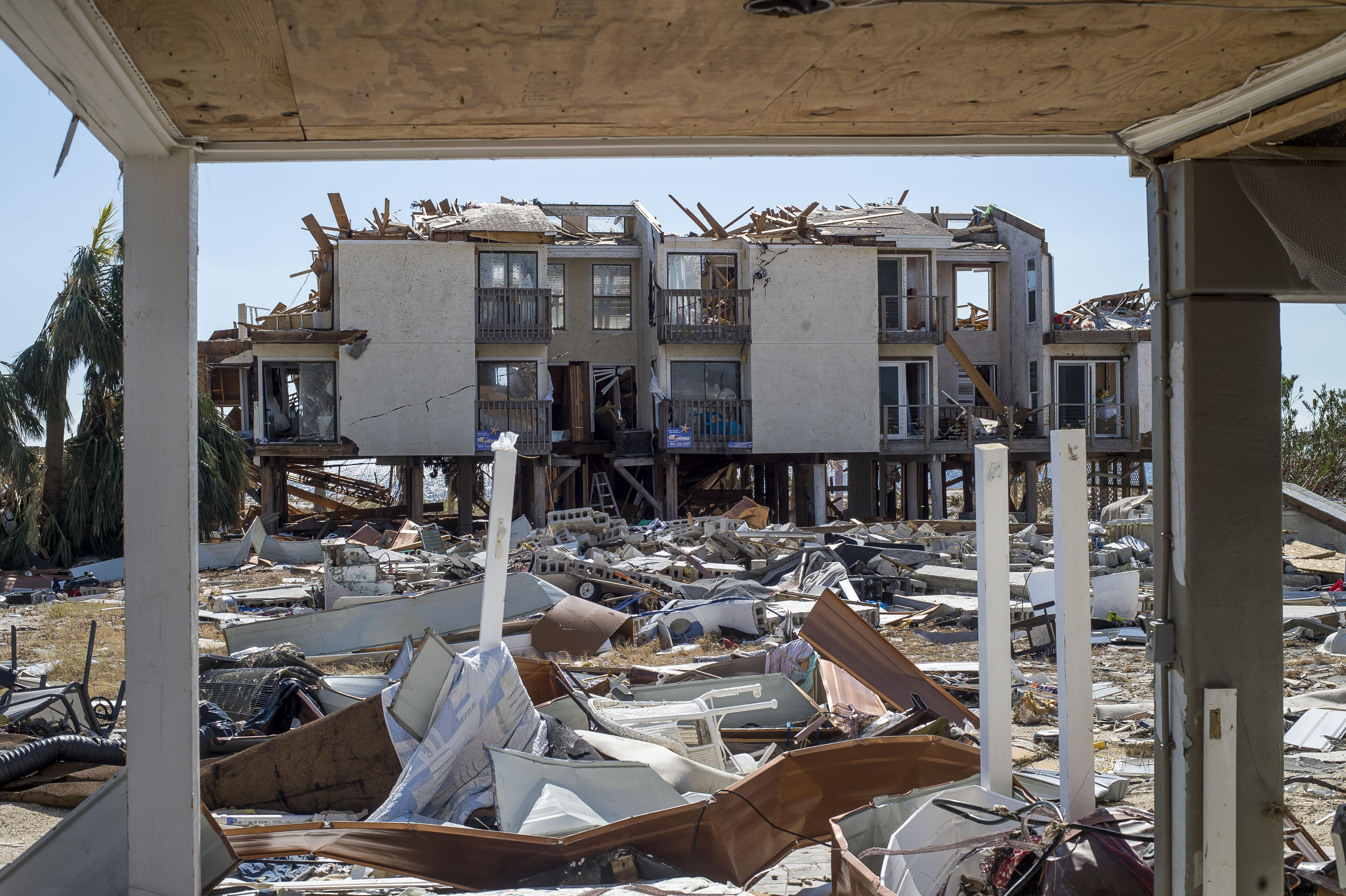 Mexico Beach, Florida, was demolished by Hurricane Michael's impact in the Florida Panhandle. Many in the region are still displaced from the storm, and health centers and free clinics in Florida's Panhandle are working to regroup and continue serving patients. Direct Relief is issuing $250,000 for emergency costs to support their efforts. (Photo by Zack Wittman for Direct Relief)