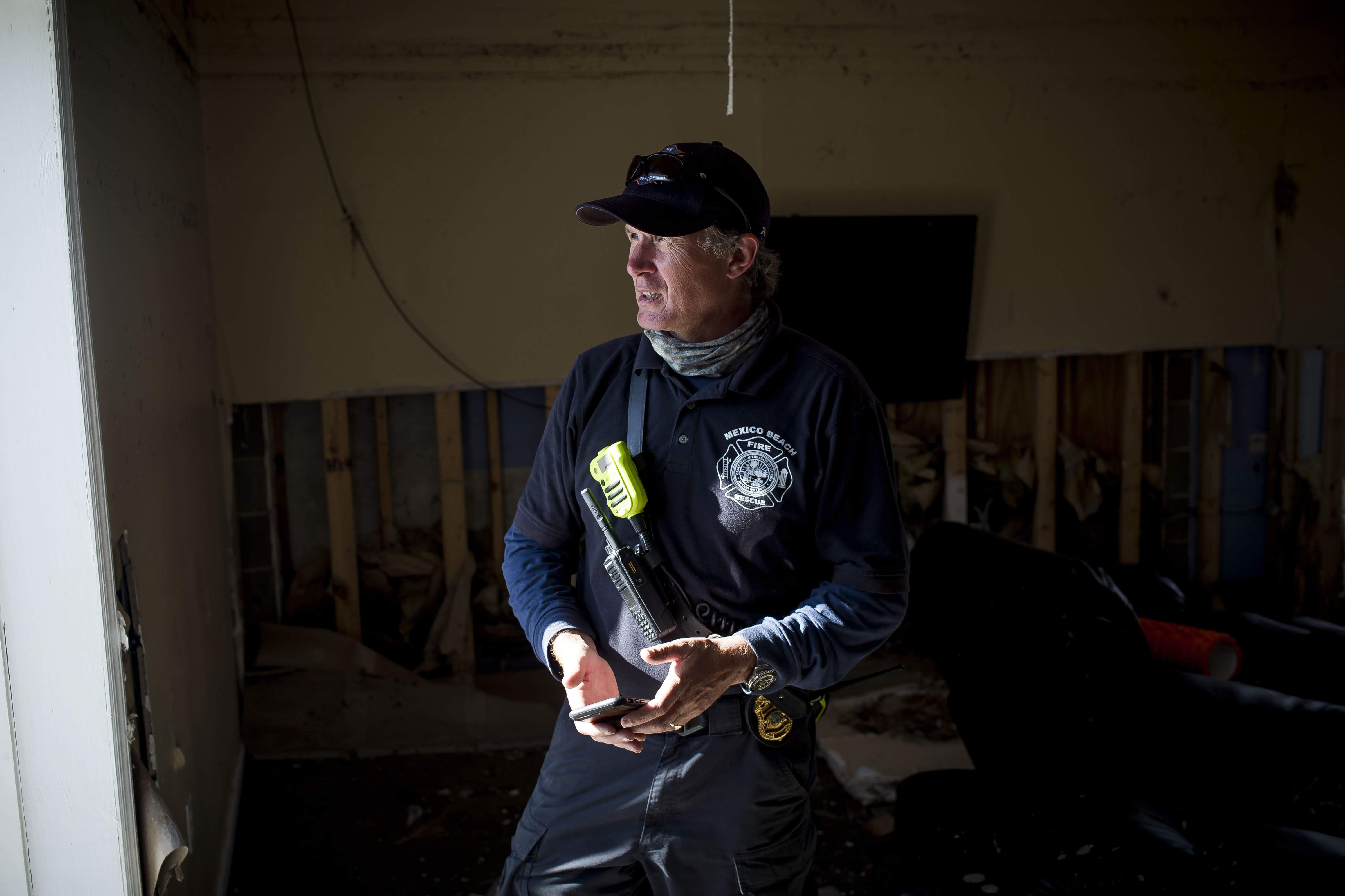 Mexico Beach Fire Interim Chief Donald 'Sandy' Walker at the fire station that was destroyed by Hurricane Michael. The small Florida town suffered a direct hit from Hurricane Michael, and Walker and his crew have been working to help their community recover.  (Photo by Zack Wittman for Direct Relief)